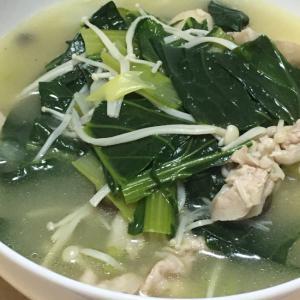 豚バラ、えのき、ほうれん草のスープ
