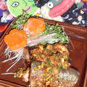 秋刀魚のピリ辛ネギソース