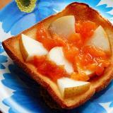 5,6分!パン耳で❤秋のグリルトースト(熟した柿)