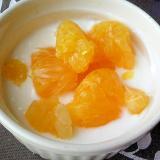 朝食に爽やかオレンジヨーグルト