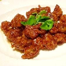 豚小間切れ肉と焼き麩の黒酢豚