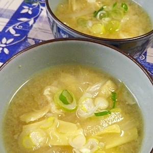 白菜油揚げ湯葉の味噌汁