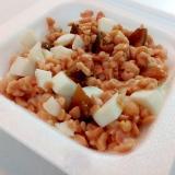 白菜芯とゆで卵とキューちゃんのひきわり納豆