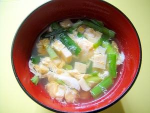 高野豆腐とニラのかき玉汁