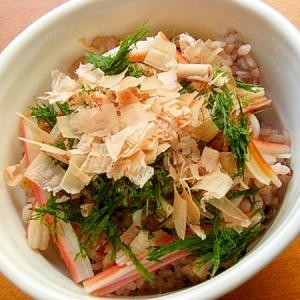 お魚食べてネ!男の手料理❤青海苔の丼♪(カニカマ)