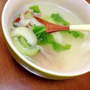 青梗菜とベーコンの中華スープ
