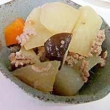 圧力鍋で簡単 大根と挽き肉の煮物