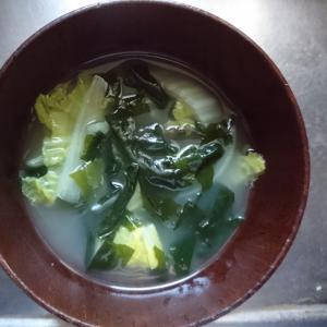 ワカメと白菜と玉葱のスープ