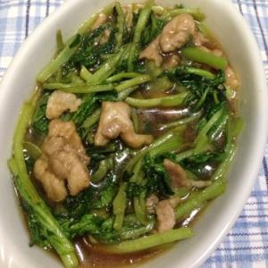 小松菜と豚肉の旨味炒め♪