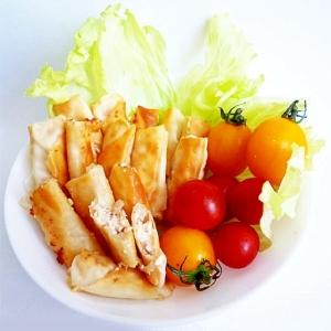 ダイエットおつまみ 豆腐と梅肉の一口揚げ