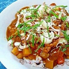 納豆の食べ方-香味onレトルトカレー♪