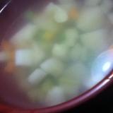 ブロッコリーの茎とジャガイモと人参のチキンスープ