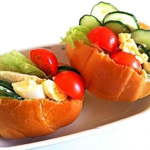 野菜サラダで☆ロールパンサンド