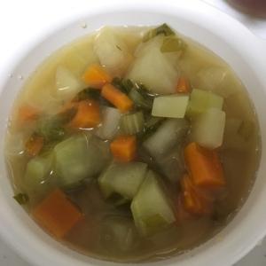 離乳食完了期☆丸大根と正月菜のお味噌汁(*^^*)