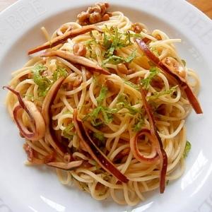 納豆とイカのスパゲッティ
