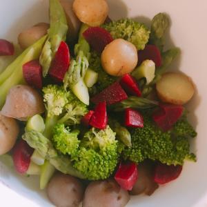 春☆新じゃがの温野菜サラダ☆ホットサラダ