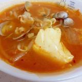 温まる~!(^^)アサリともやしのチゲ風スープ♪
