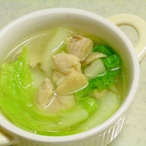 簡単♪とりもも肉とたっぷり白菜の中華スープ