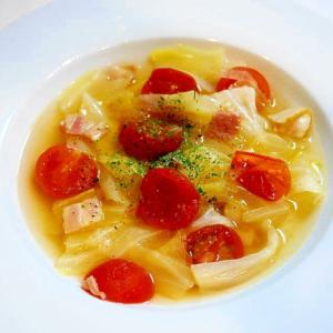 簡単!トマトとベーコンとキャベツのコンソメスープ