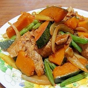 かぼちゃと豚肉の中華炒め (我が家の味)