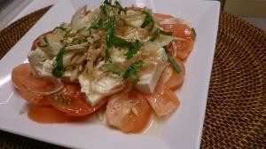 トマトとお豆腐の和風カプレーゼ風サラダ~生姜ドレで