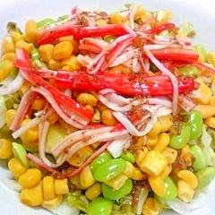 赤×黄×緑☆カニカマ&コーン&枝豆のサラダ♪