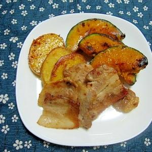 豚バラ肉とかぼちゃとじゃがいものソテー