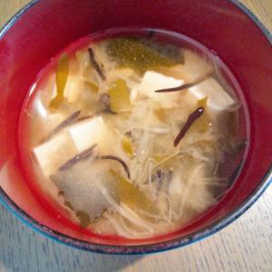 豆腐&キャベツ&海藻のお味噌汁
