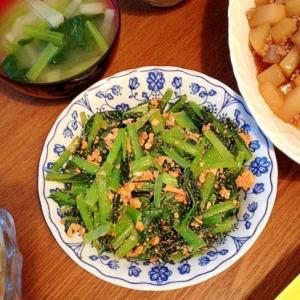 小松菜と明太子と卵炒め