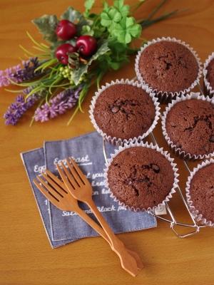 HMで簡単に☆ダブルチョコのカップケーキ