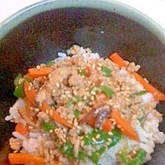 野菜と鶏ミンチの丼