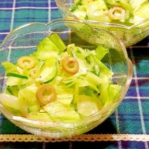 ツナときゅうりとオリーブのサラダ
