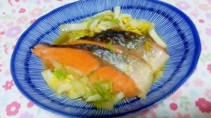 鮭と白菜の煮浸し++