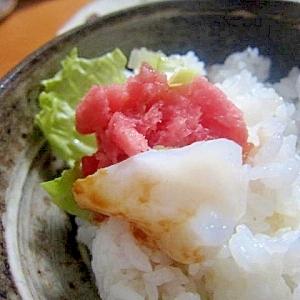鮪トロ生蛸ワサビ醤油御飯