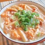 納豆と豆腐のとろふわ味噌煮込みうどん♪