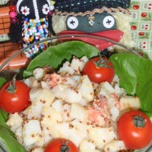 鮭トバのハニーマスタードポテサラ