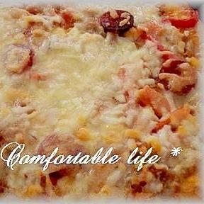 """★""""米粉入りでもっちりパリッとピザ生地"""