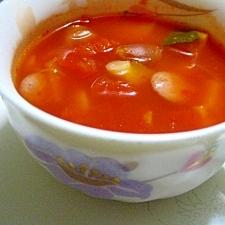 大豆とカボチャのトマトスープ