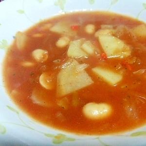 粉末スープにひと手間プラスした野菜たっぷりスープ