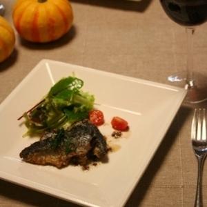 秋刀魚のソテー、肝ソース