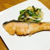 鮭の照り焼きのねぎ添え