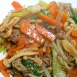 牛肉と小松菜とブナピーのソース炒め