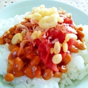 梅干し&天かす&かつお節の納豆ご飯❤