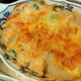 小松菜とチキンの長芋ベースグラタン 和風&ズボラ風