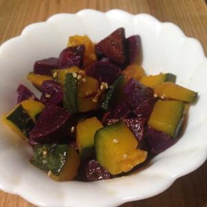 かぼちゃと紫芋の旨味和え♪