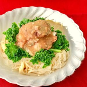 鯖缶とケールの素麺