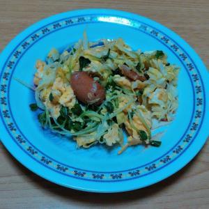 残り野菜とウインナーと卵の炒め物