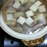 鶏と豆腐とたけのこの白だし鍋