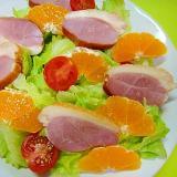 合鴨とみかんレタスのサラダ