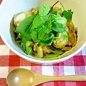 ホタテ・タマネギ・アスパラの卵とじ丼